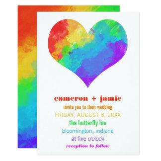 Rainbow Paint Heart Gay Lesbian Wedding Invitation