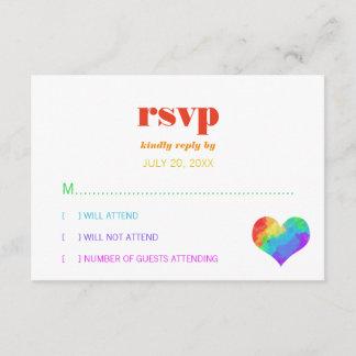 Rainbow Paint Heart Gay Lesbian Wedding RSVP