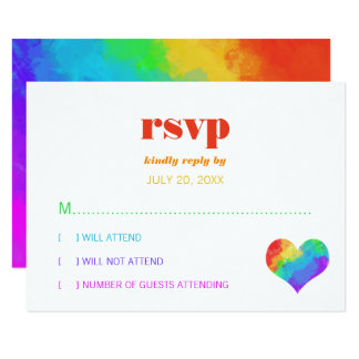 Rainbow Paint Heart Gay Lesbian Wedding RSVP Card