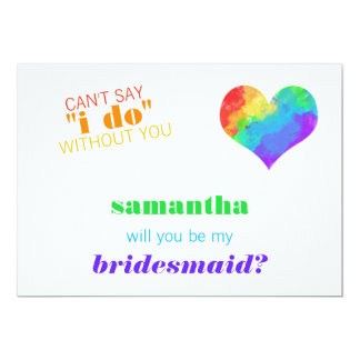 Rainbow Paint Heart Lesbian Wedding Bridesmaid Card
