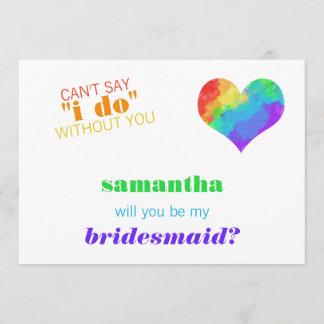 Rainbow Paint Heart Lesbian Wedding Bridesmaid Invitation