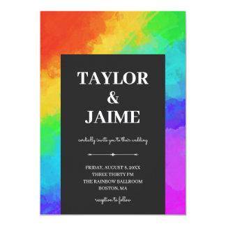 Rainbow Paint Modern Gay Lesbian Wedding Invitation