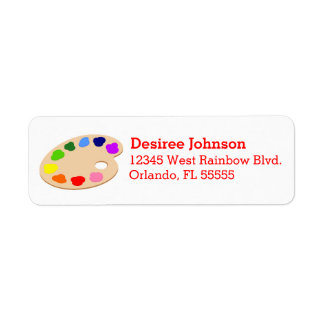 Rainbow Paint Palette Art Address Labels