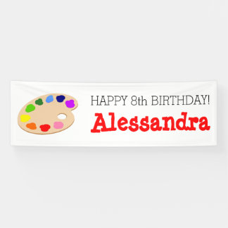 Rainbow Paint Palette Art Birthday Party Banner