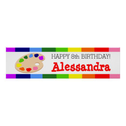 Rainbow Paint Palette Art Birthday Party Banner Poster