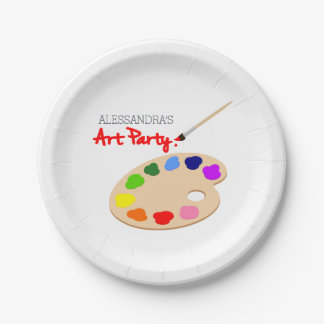 Rainbow Paint Palette Art Birthday Party 7 Inch Paper Plate