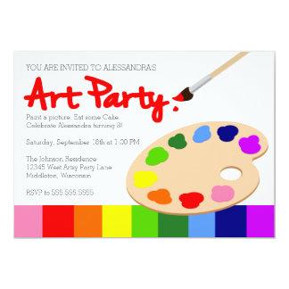 Rainbow Paint Palette Art Party 5x7 Paper Invitation Card