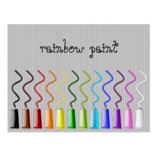 rainbow paint postcard