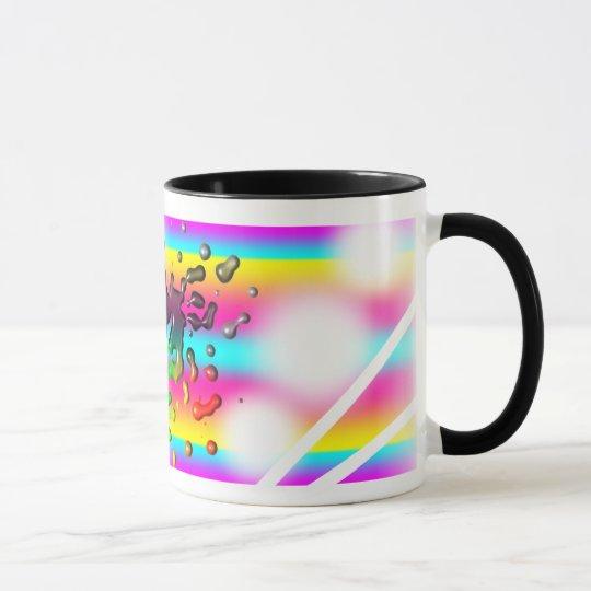 Rainbow paint splash mug