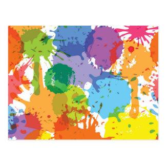 Rainbow Paint Splat Pattern Postcard