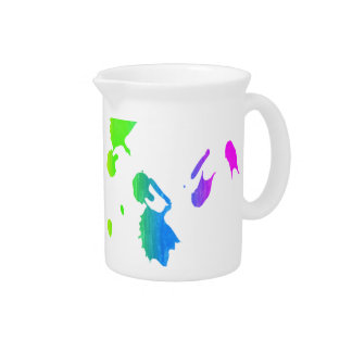 Rainbow paint-splatter beverage pitcher