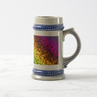 Rainbow Paint Splatter Hippie Earth Tones Abstract Beer Stein