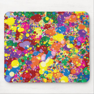 Rainbow Paint Splatter Mouse Pad