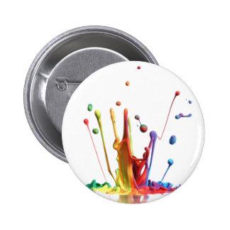 Rainbow Paint Splatter Pinback Button