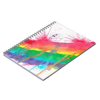 Rainbow Paint Splatter Spiral Notebook