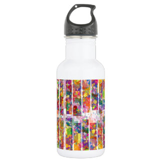Rainbow Paint Splatter - Vertical Blocks Stainless Steel Water Bottle
