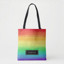 Rainbow Paint Strokes | Custom Name Tote Bag