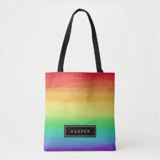 Rainbow Paint Strokes | Custom Name Tote Bag