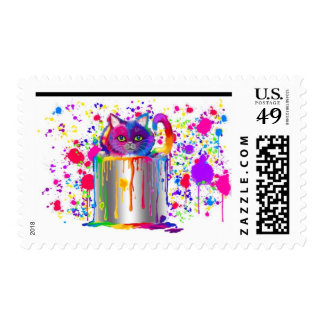 Rainbow painted cat stamp