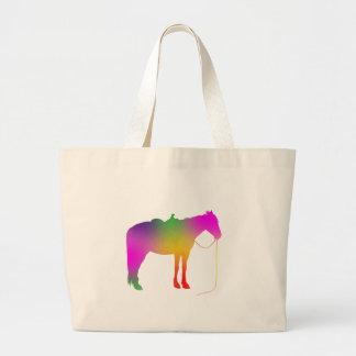 Rainbow painted horse jumbo tote bag