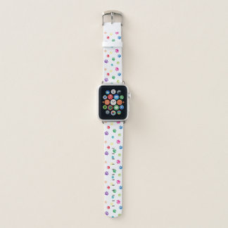 Rainbow Painted Paw Prints Apple Watch Band