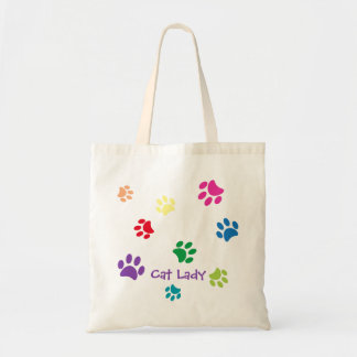 Rainbow Painted Paw Prints Cat Lady Tote Bag