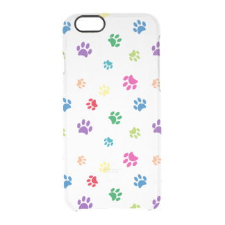 Rainbow Painted Paw Prints Clear iPhone 6/6S Case