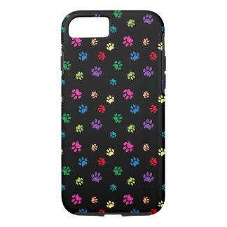 Rainbow Painted Paw Prints (dark) iPhone 7 Case