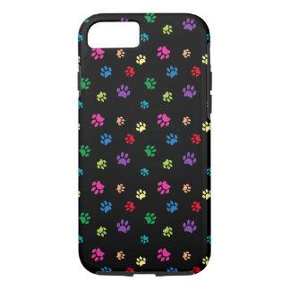 Rainbow Painted Paw Prints (dark) iPhone 8/7 Case