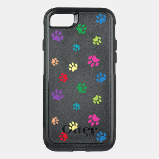 Rainbow Painted Paw Prints (dark) OtterBox Commuter iPhone 7 Case