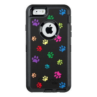 Rainbow Painted Paw Prints (dark) OtterBox Defender iPhone Case