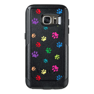 Rainbow Painted Paw Prints (dark) OtterBox Samsung Galaxy S7 Case