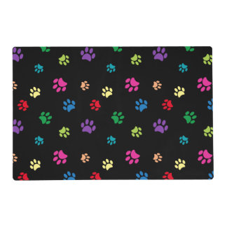 Rainbow Painted Paw Prints (dark) Placemat