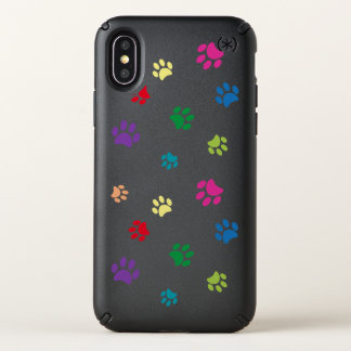 Rainbow Painted Paw Prints (dark) Speck iPhone X Case