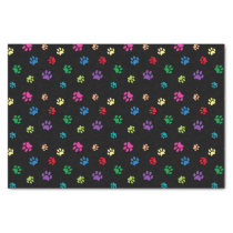 Rainbow Painted Paw Prints (dark) Tissue Paper