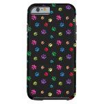 Rainbow Painted Paw Prints (dark) Tough iPhone 6 Case