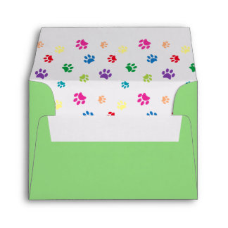 Rainbow Painted Paw Prints Envelope