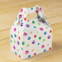 Rainbow Painted Paw Prints Favor Box