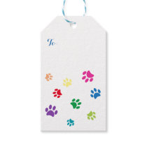 Rainbow Painted Paw Prints Gift Tags