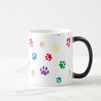 Rainbow Painted Paw Prints Magic Mug