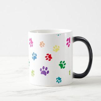 Rainbow Painted Paw Prints Magic Mug