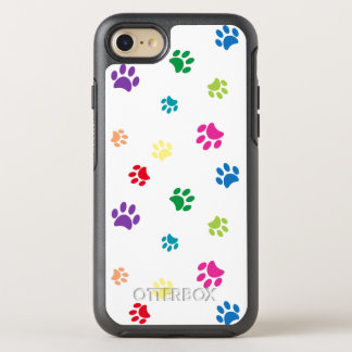 Rainbow Painted Paw Prints OtterBox Symmetry iPhone 7 Case