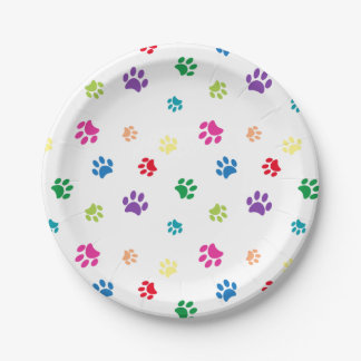 Rainbow Painted Paw Prints Paper Plate