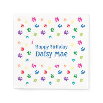 Rainbow Painted Paw Prints Pet Birthday Napkin