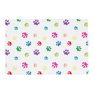 Rainbow Painted Paw Prints Placemat