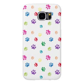 Rainbow Painted Paw Prints Samsung Galaxy S6 Case