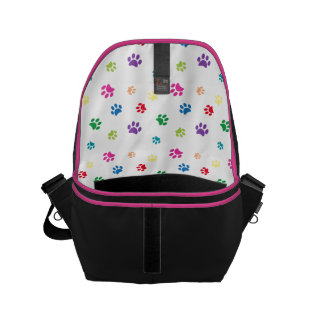 Rainbow Painted Paw Prints Small Messenger Bag