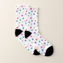 Rainbow Painted Paw Prints Socks