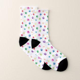 Rainbow Painted Paw Prints Socks