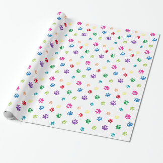 Rainbow Painted Paw Prints Wrapping Paper